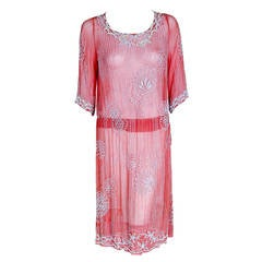 1920's French Rose-Pink Beaded Sheer Cotton Deco Drop-Waist Flapper Dress