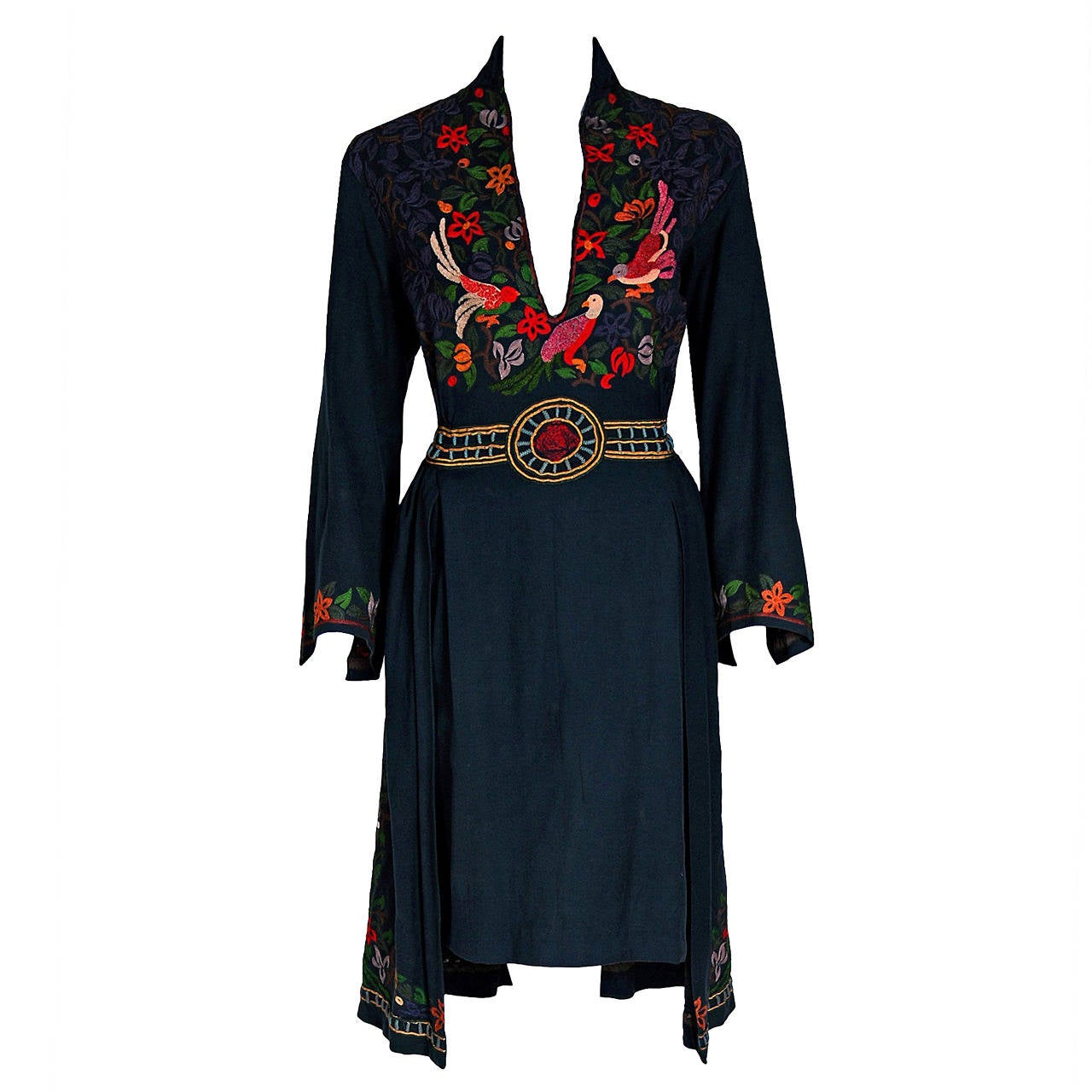 1920's Colorful Bird-Garden Novelty Embroidered Cotton Bohemian Ethnic Dress 1
