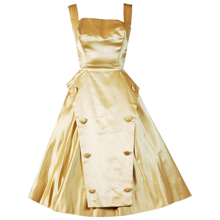 1950's Sorelle Fontana Haute-Couture Yellow Satin Circle-Skirt Full Party Dress 1