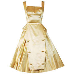 1950's Sorelle Fontana Haute-Couture Yellow Satin Circle-Skirt Full Party Dress