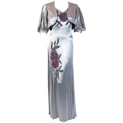1930's Silver Silk-Satin Beaded Embroidered Bias-Cut Evening Gown & Bolero