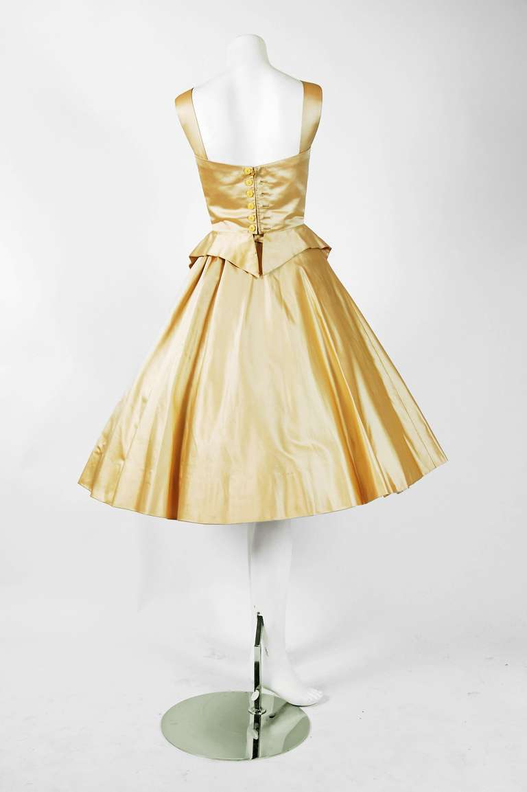 1950's Sorelle Fontana Haute-Couture Yellow Satin Circle-Skirt Full Party Dress 4