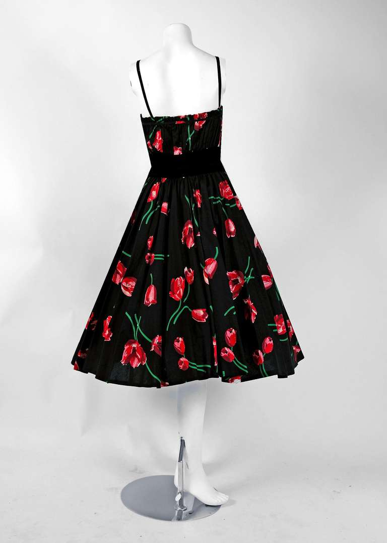 1950's Watercolor Pink-Tulips Floral Print Sequin Cotton Circle-Skirt Sun Dress 6