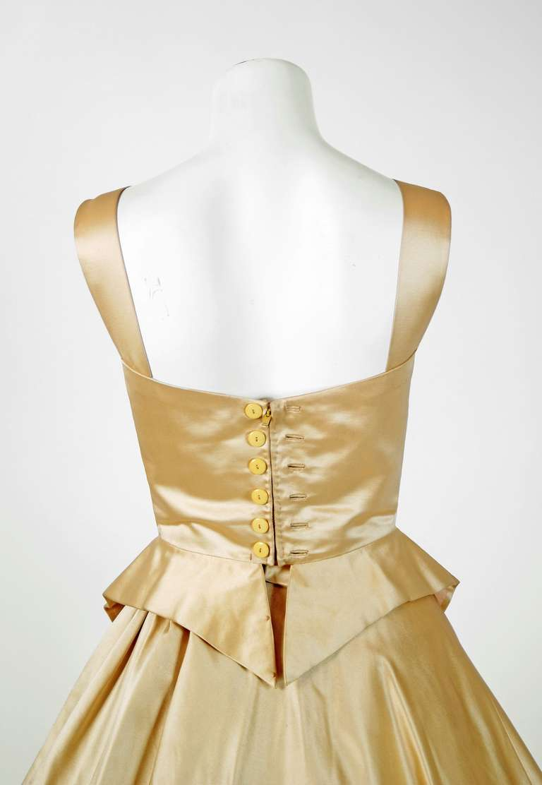 1950's Sorelle Fontana Haute-Couture Yellow Satin Circle-Skirt Full Party Dress 3