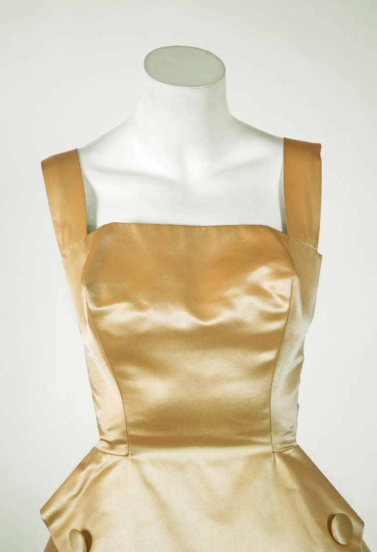 1950's Sorelle Fontana Haute-Couture Yellow Satin Circle-Skirt Full Party Dress 2