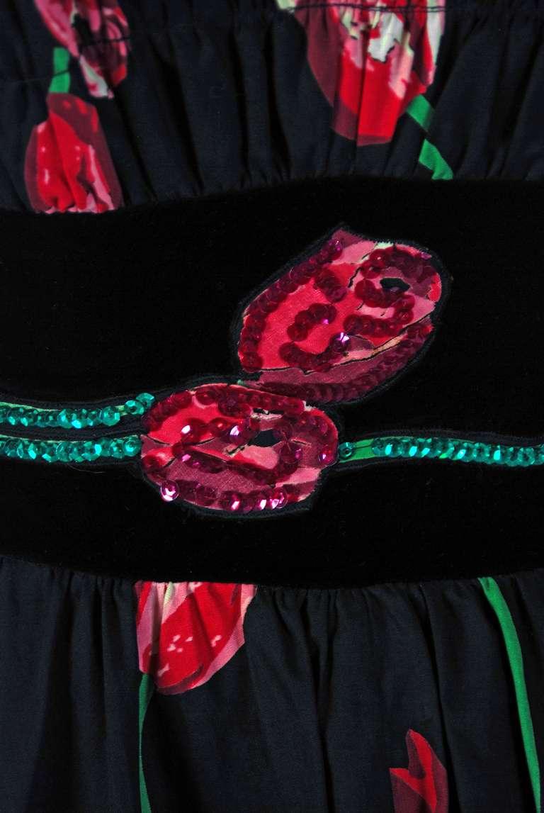 1950's Watercolor Pink-Tulips Floral Print Sequin Cotton Circle-Skirt Sun Dress 4