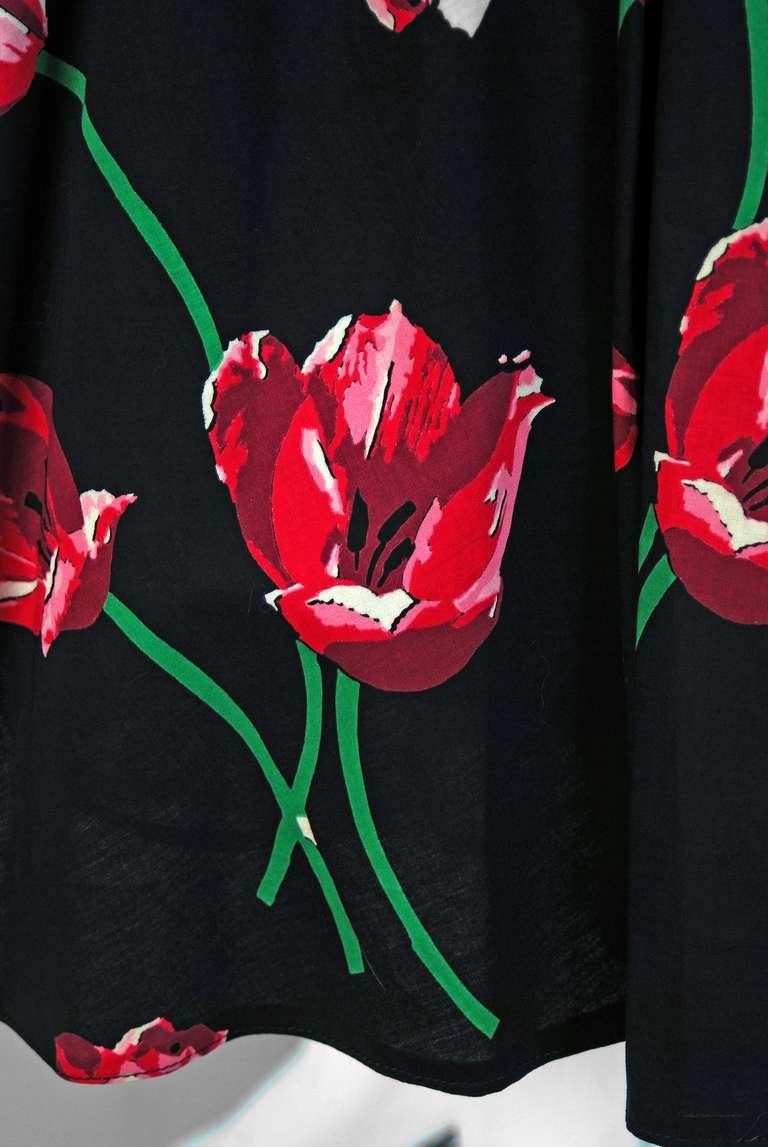 1950's Watercolor Pink-Tulips Floral Print Sequin Cotton Circle-Skirt Sun Dress 5