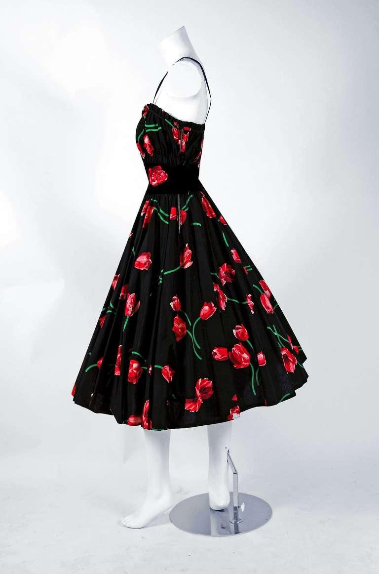 1950's Watercolor Pink-Tulips Floral Print Sequin Cotton Circle-Skirt Sun Dress 2