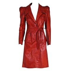 1970's Gandalf Cinnamon Leather Puff-Sleeve Belted Princess Trench Coat Jacket
