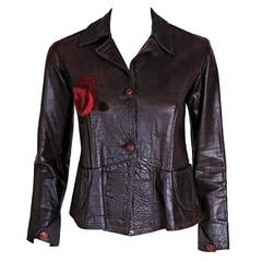 1970's East West Musical Instruments Rose-Applique Fitted Brown Leather Jacket
