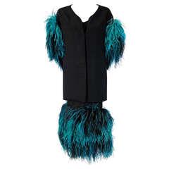 1950's Irene Lentz Black Silk & Turquoise Ostrich-Feathers Cocktail Dress Set