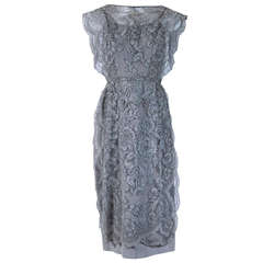 1950's Irene Lentz Grey Chantilly-Lace Illusion Scalloped Cocktail Party Dress