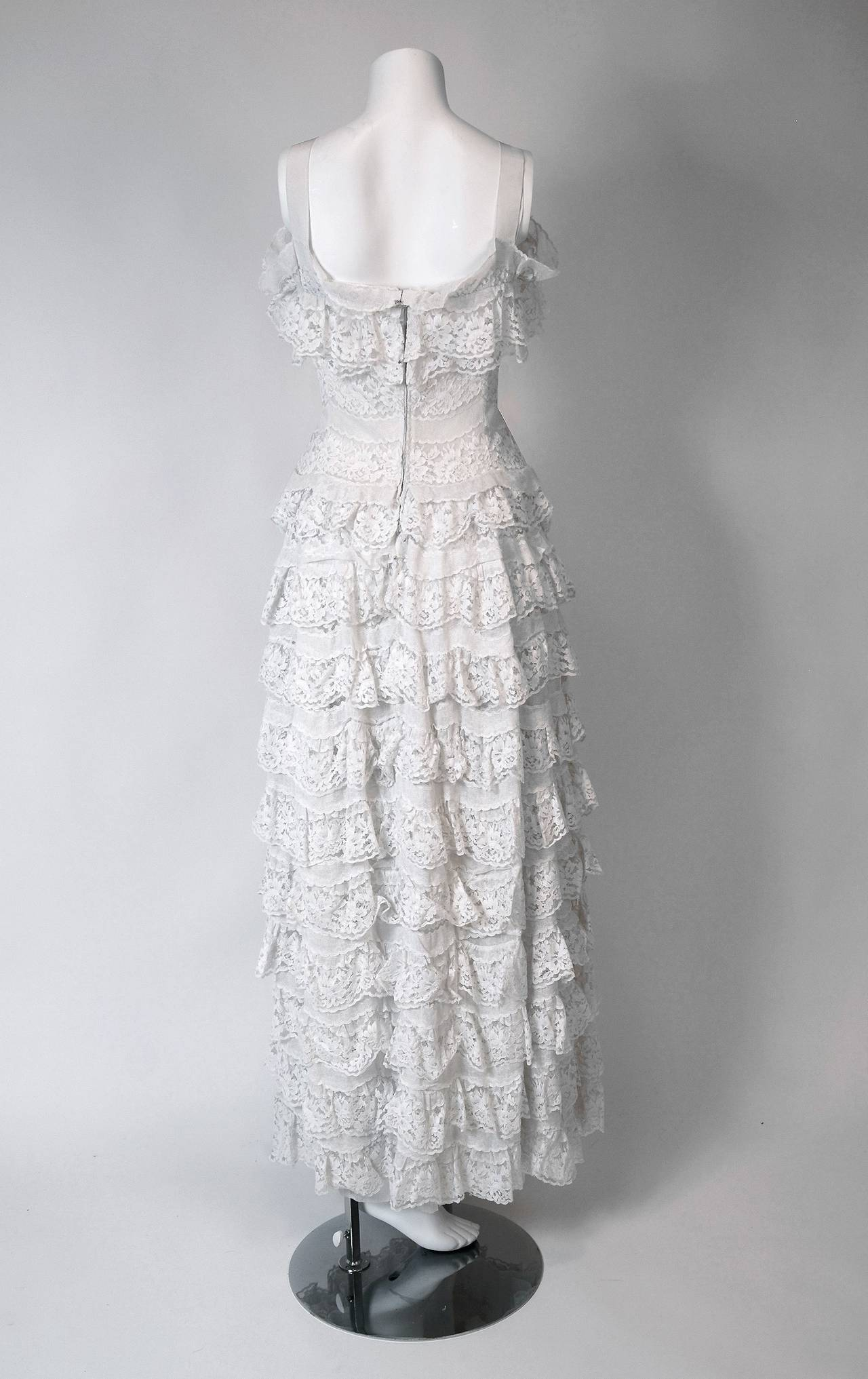 1962 Christian Dior Paris Demi-Couture White Tiered Ruffle Lace Formal Gown For Sale 1