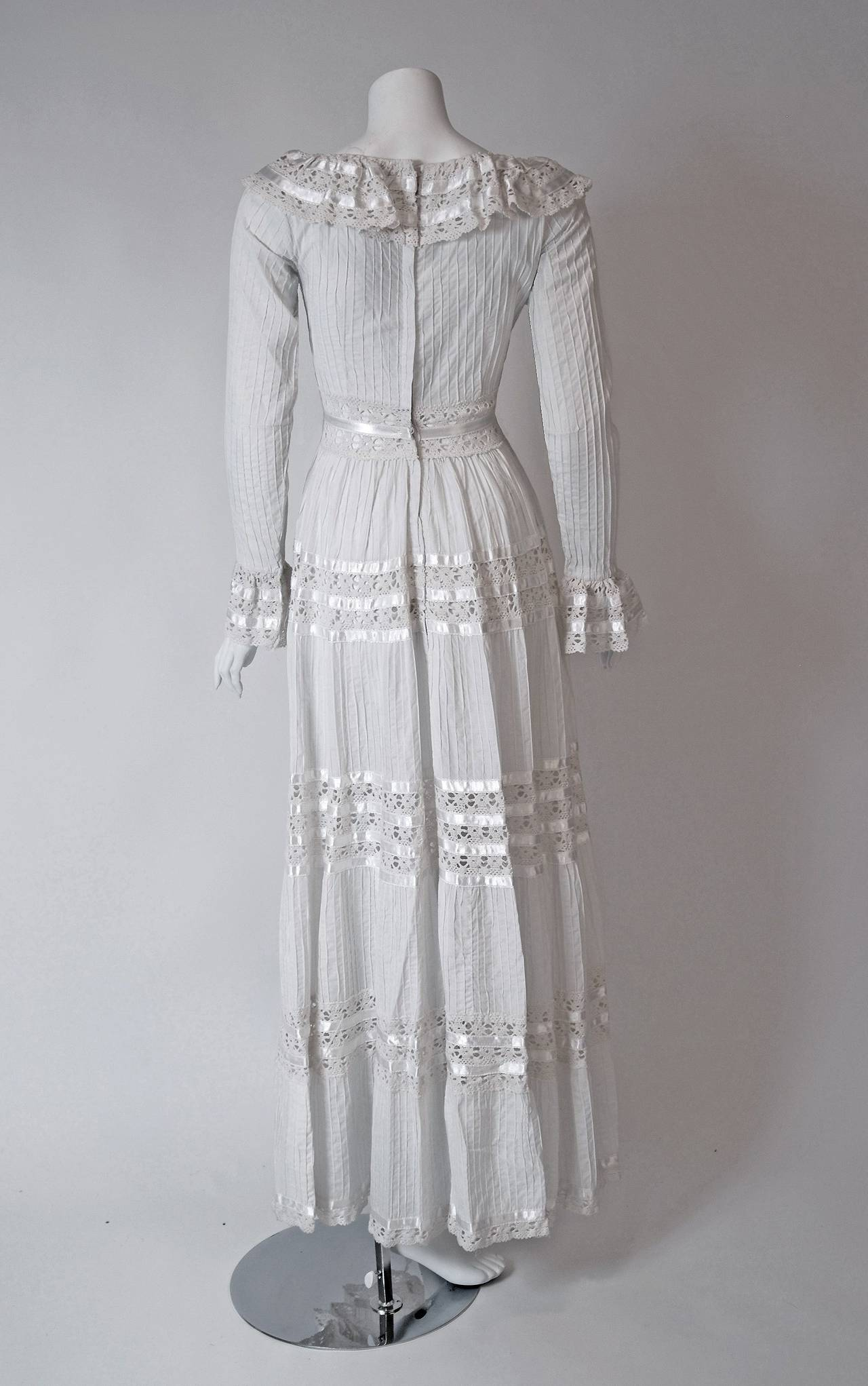 1960's Juli Lynne Charlot White Pintuck Cotton & Crochet-Lace Empire Maxi Dress For Sale 1