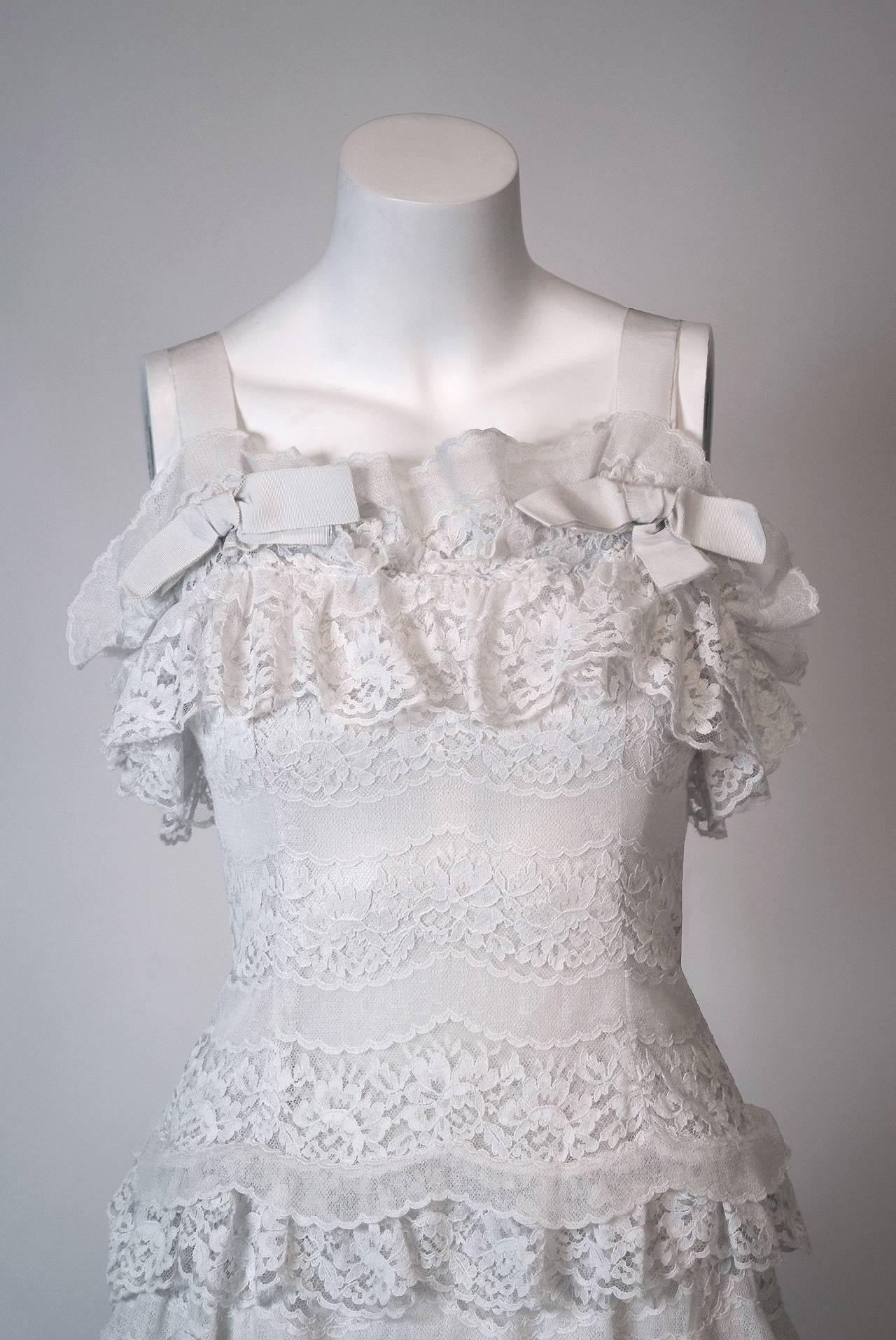 1962 Christian Dior Paris Demi-Couture White Tiered Ruffle Lace Formal Gown 3