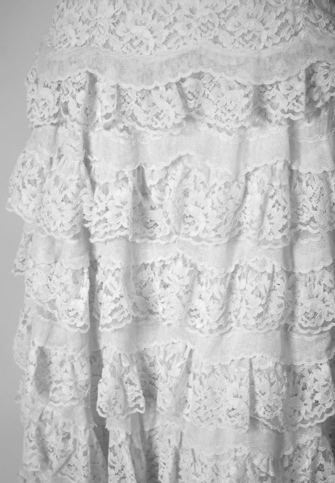 Women's 1962 Christian Dior Paris Demi-Couture White Tiered Ruffle Lace Formal Gown For Sale