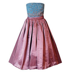 1950's Elegant Mauve-Pink Satin & Beaded Ice-Blue Velvet Strapless Party Dress
