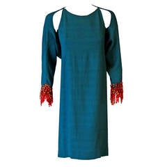 1966 Pierre Cardin Haute-Couture Sequin Teal Blue-Green Silk Mod Dress Ensemble