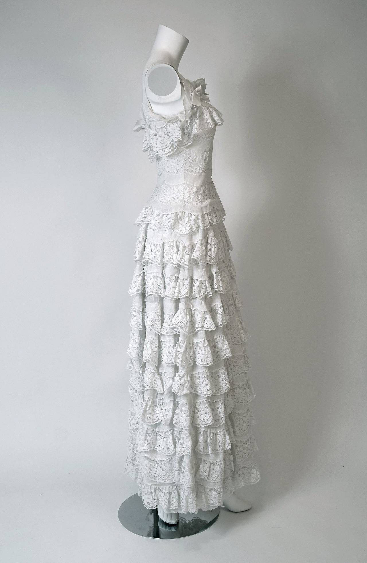 1962 Christian Dior Paris Demi-Couture White Tiered Ruffle Lace ...