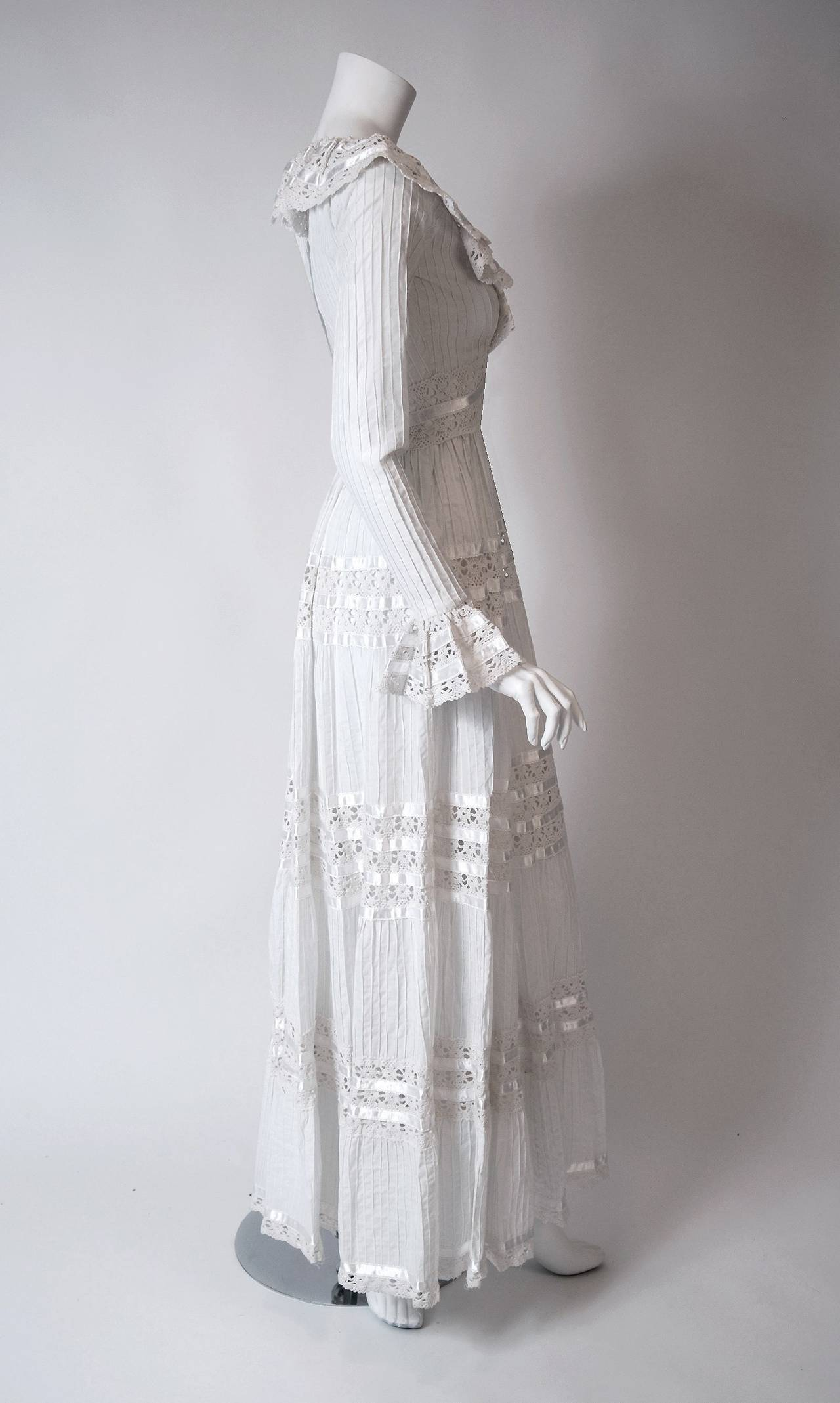 Women's 1960's Juli Lynne Charlot White Pintuck Cotton & Crochet-Lace Empire Maxi Dress For Sale