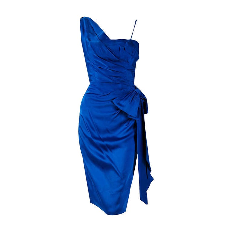 1950's Sapphire-Blue Satin Asymmetric One Shoulder Cocktail Wiggle Dress 1