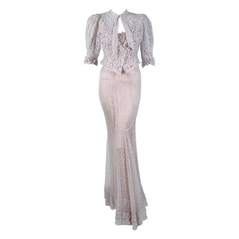 1930\'s Ethereal Ivory-White Lace Bias-Cut Hourglass Gown and ...