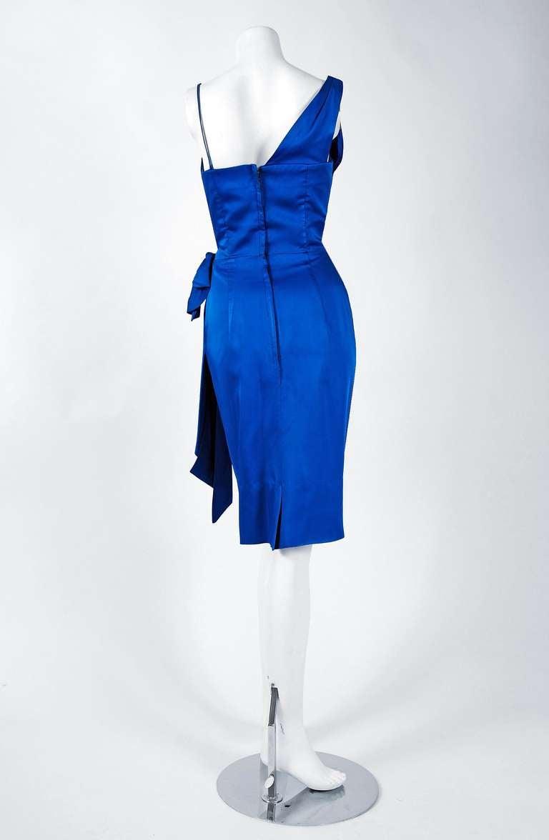 1950's Sapphire-Blue Satin Asymmetric One Shoulder Cocktail Wiggle Dress 5