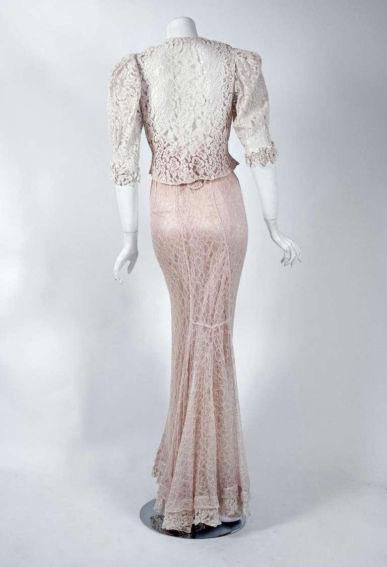 1930's Ethereal Ivory-White Lace Bias-Cut Hourglass Gown & Matching Jacket 6
