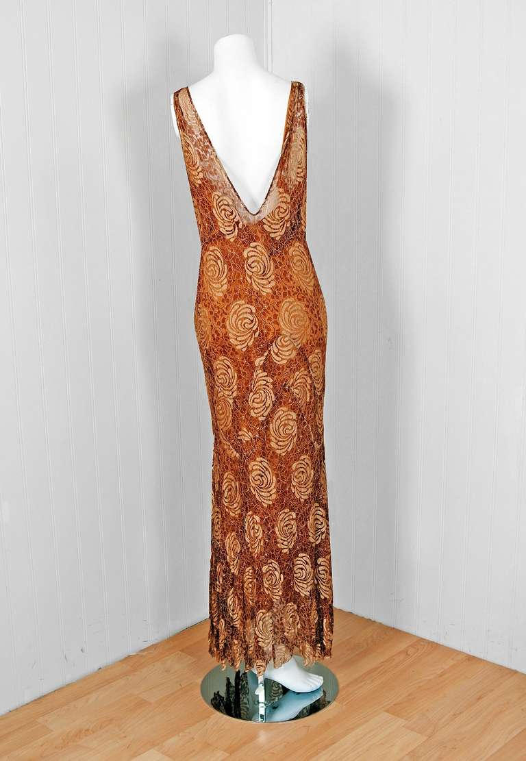 1930's Golden Floral-Lace & Chiffon Bias-Cut Deco Hourglass Gown & Jacket 5