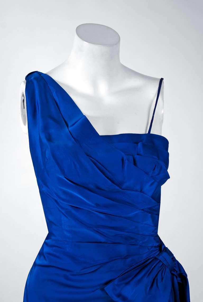 1950's Sapphire-Blue Satin Asymmetric One Shoulder Cocktail Wiggle Dress 2