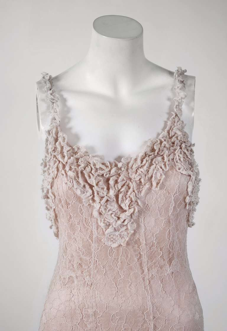 1930's Ethereal Ivory-White Lace Bias-Cut Hourglass Gown & Matching Jacket 4
