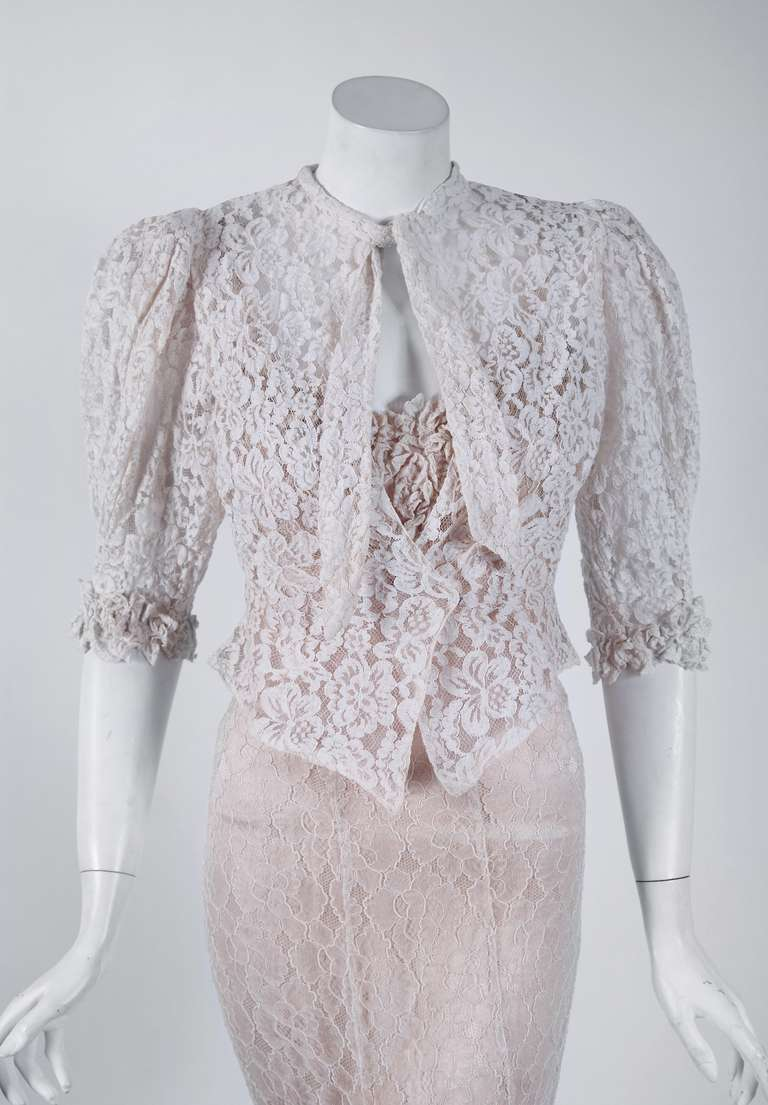 1930's Ethereal Ivory-White Lace Bias-Cut Hourglass Gown & Matching Jacket 2