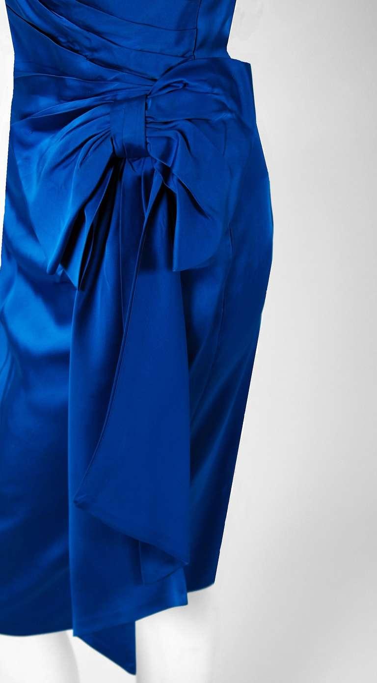 1950's Sapphire-Blue Satin Asymmetric One Shoulder Cocktail Wiggle Dress 3
