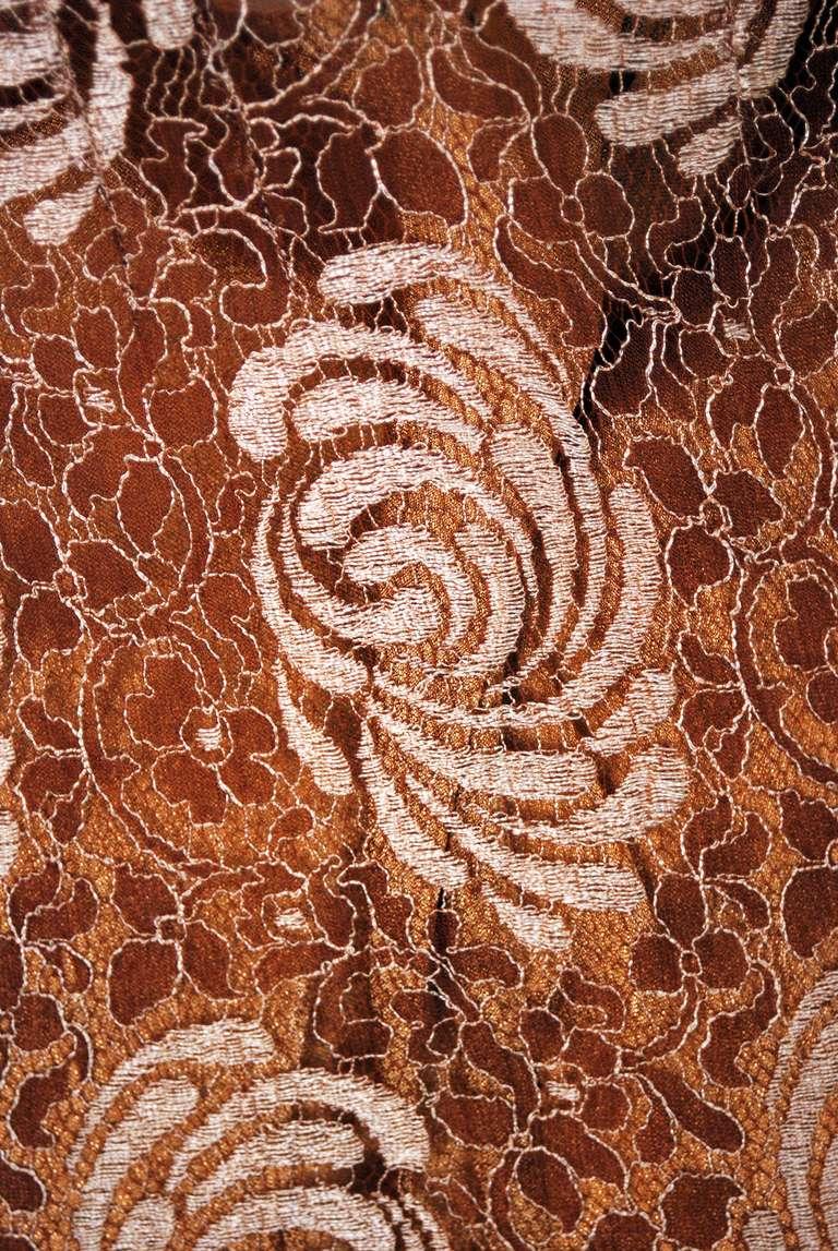1930's Golden Floral-Lace & Chiffon Bias-Cut Deco Hourglass Gown & Jacket 4