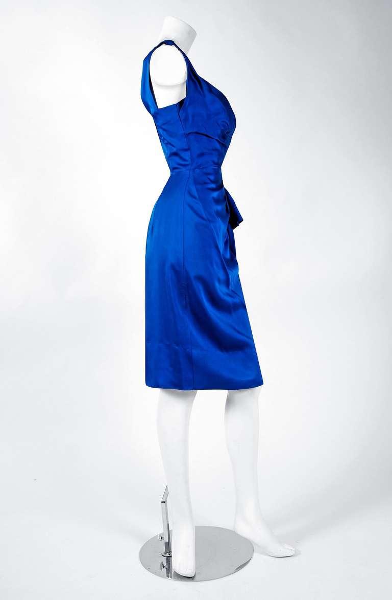 1950's Sapphire-Blue Satin Asymmetric One Shoulder Cocktail Wiggle Dress 4