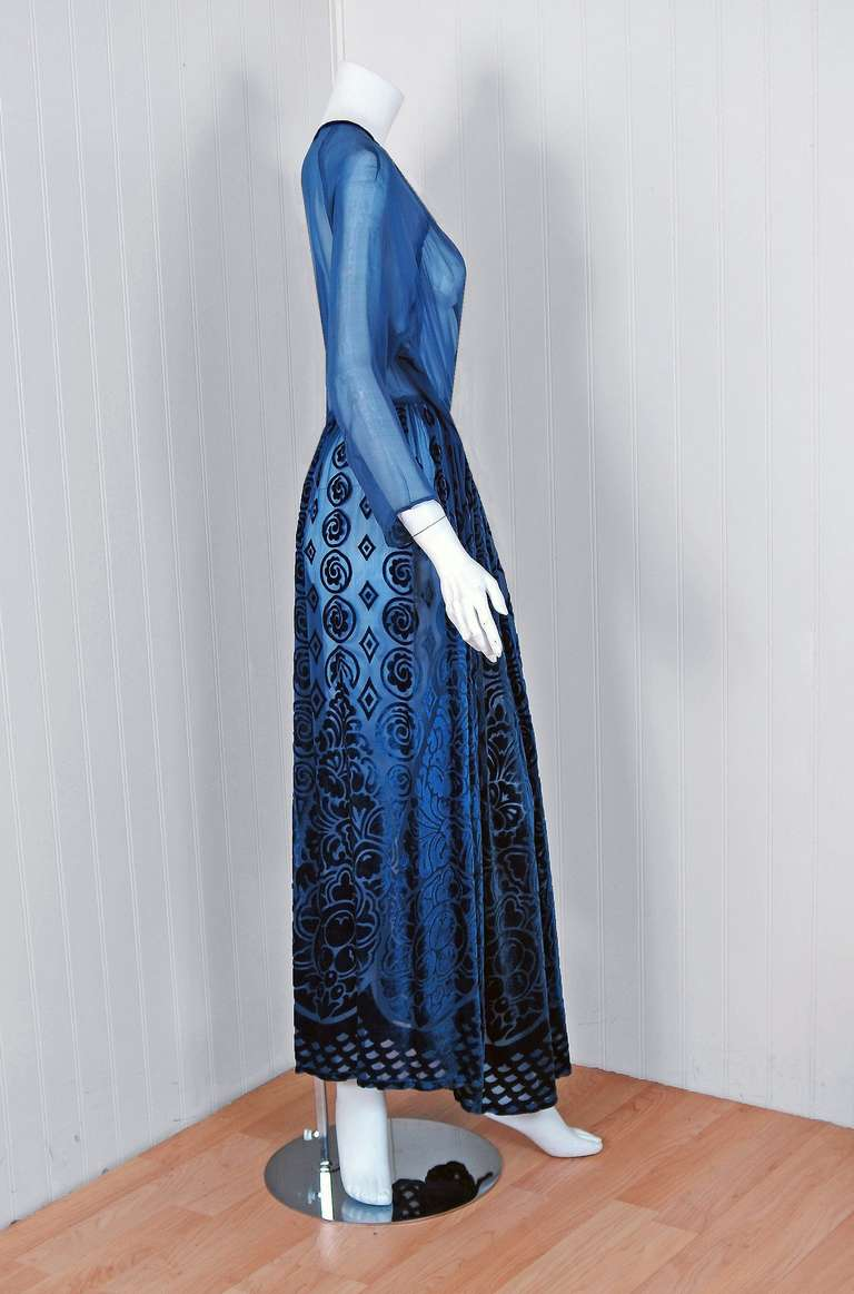 1930 S Sapphire Blue Deco Velvet Flocked Silk Bias Cut