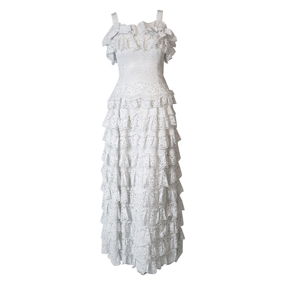 1962 Christian Dior Paris Demi-Couture White Tiered Ruffle Lace Formal Gown