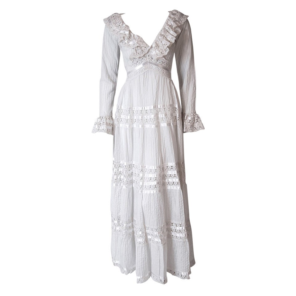 1960's Juli Lynne Charlot White Pintuck Cotton & Crochet-Lace Empire Maxi Dress For Sale