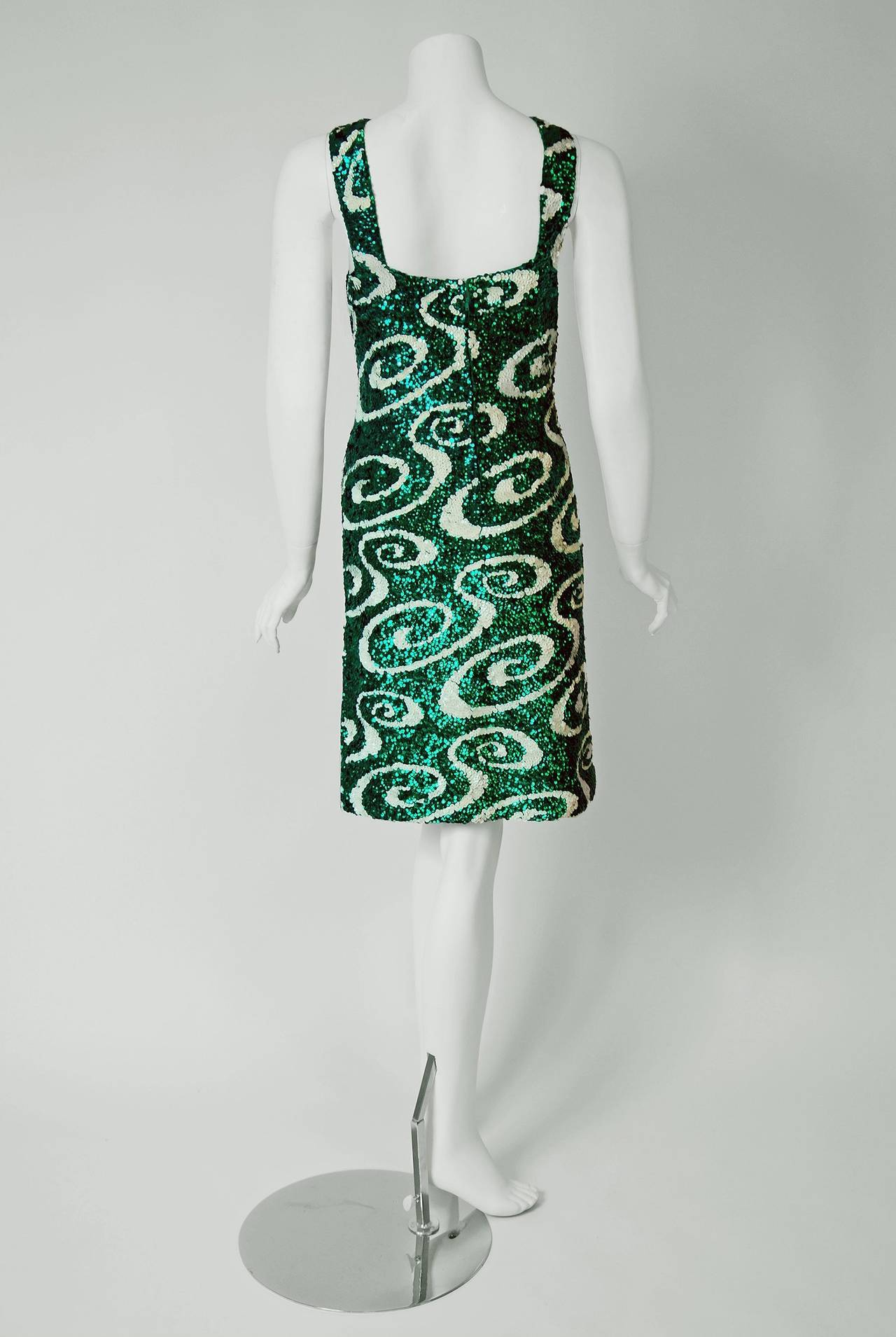 Room Designer Upload Photo 1960 S Emerald Green And White Sequin Abstract Swirls Wool
