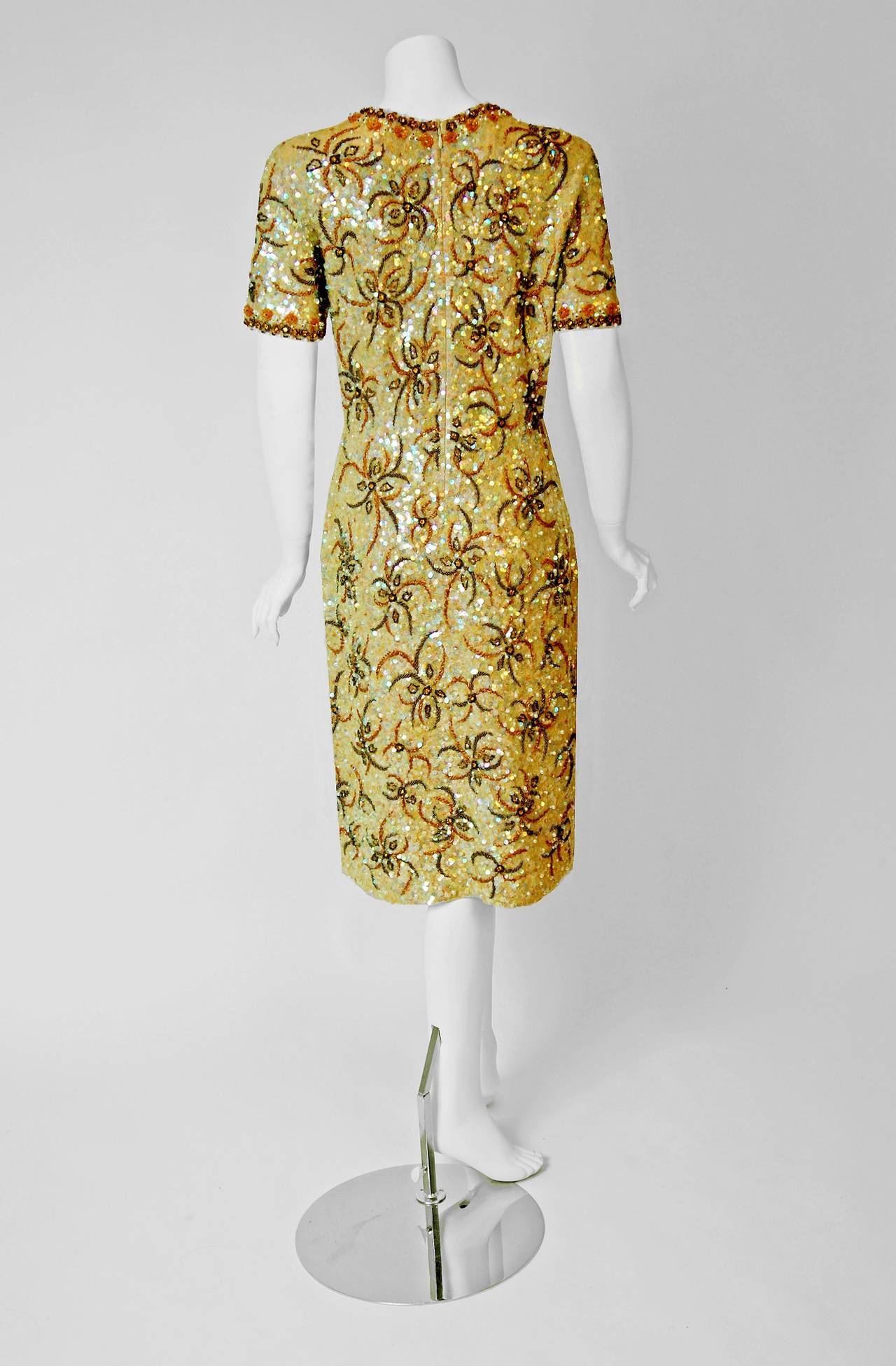 1950's Gene Shelly Golden-Yellow Sequin Beaded Knit Abstract Cocktail Dress 4