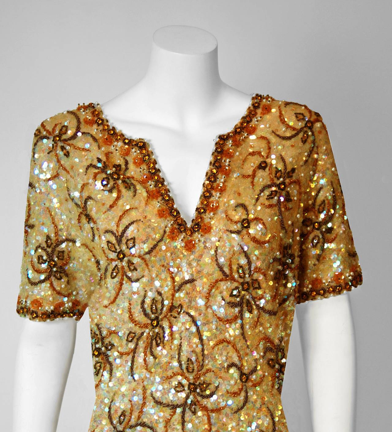 1950's Gene Shelly Golden-Yellow Sequin Beaded Knit Abstract Cocktail Dress 2