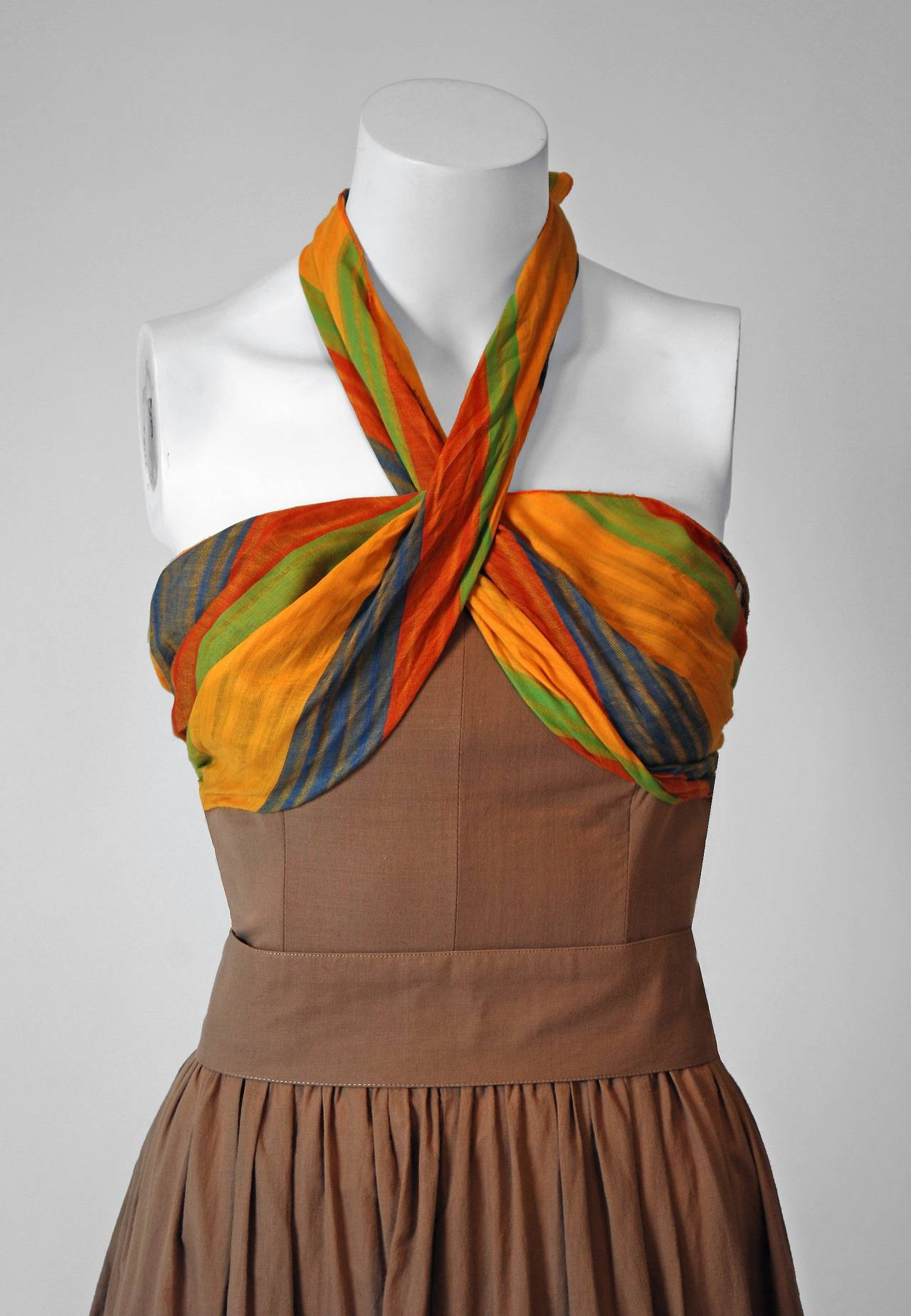 1970's French Watercolor-Stripe Tiered Cotton Shelf-Bust Halter Belted Sun Dress 2