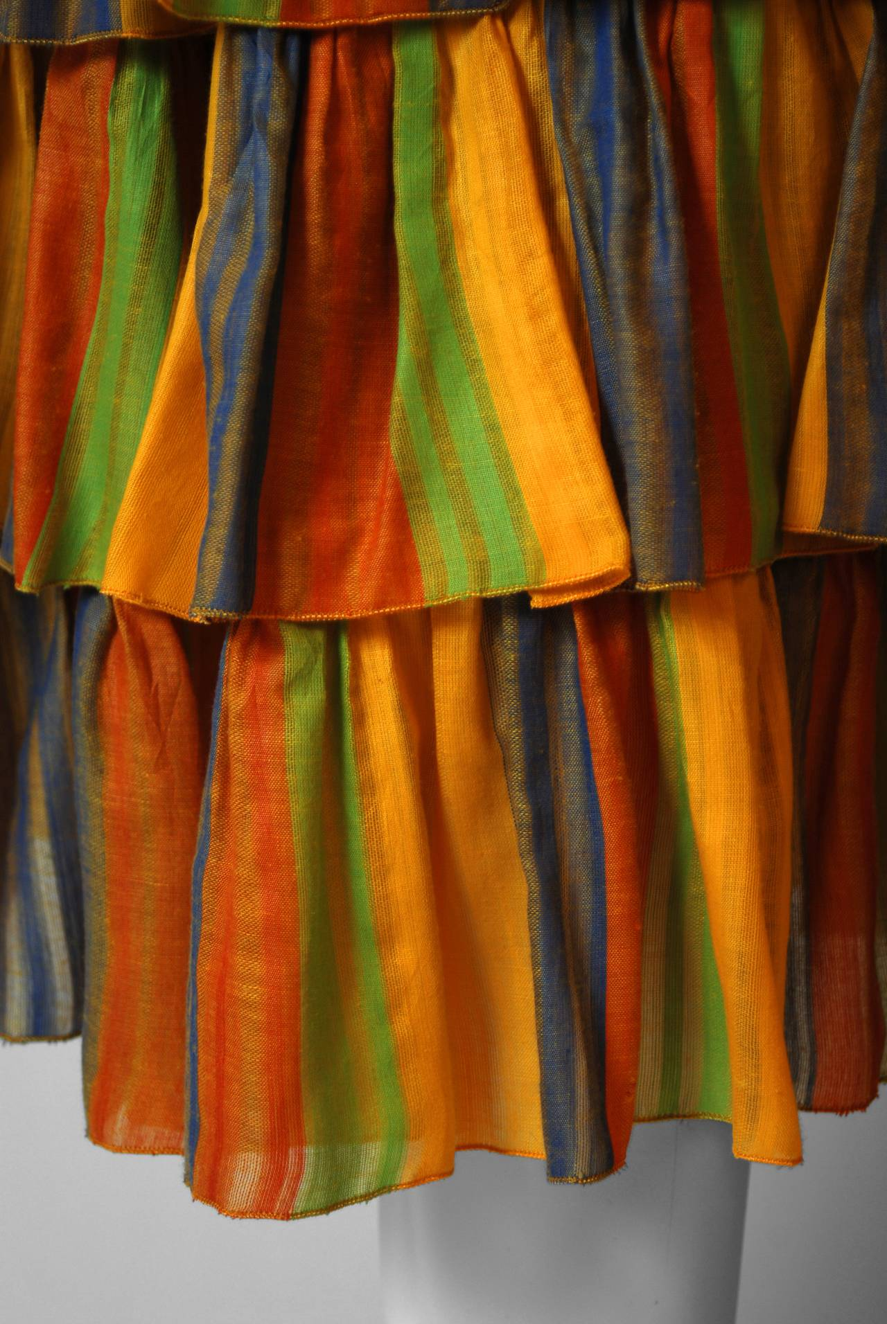 1970's French Watercolor-Stripe Tiered Cotton Shelf-Bust Halter Belted Sun Dress 3