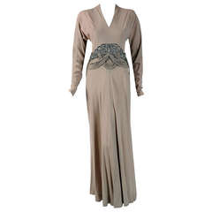 1940's Irene Lentz Beaded Rhinestone Taupe Crepe Bias-Cut Evening Gown