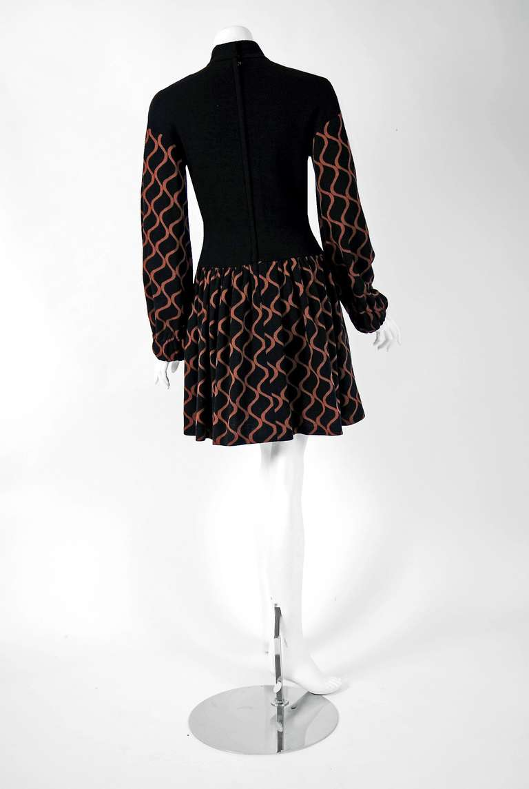 1960's Rudi Gernreich Op-Art Black & Mocha Wool Billow-Sleeves Mod Dress 4