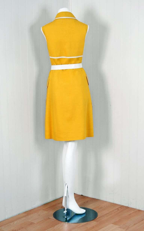 1960's Geoffrey Beene Yellow & White Linen Sleeveless Belted Mod Dress 4