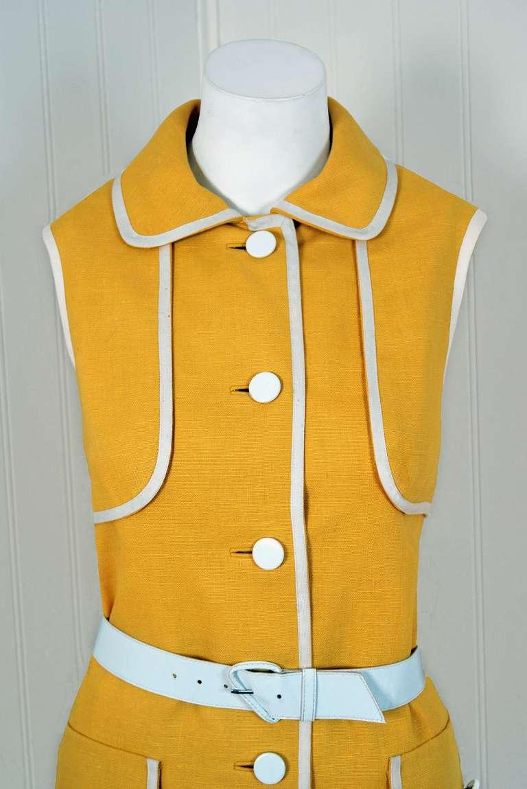 1960's Geoffrey Beene Yellow & White Linen Sleeveless Belted Mod Dress 2