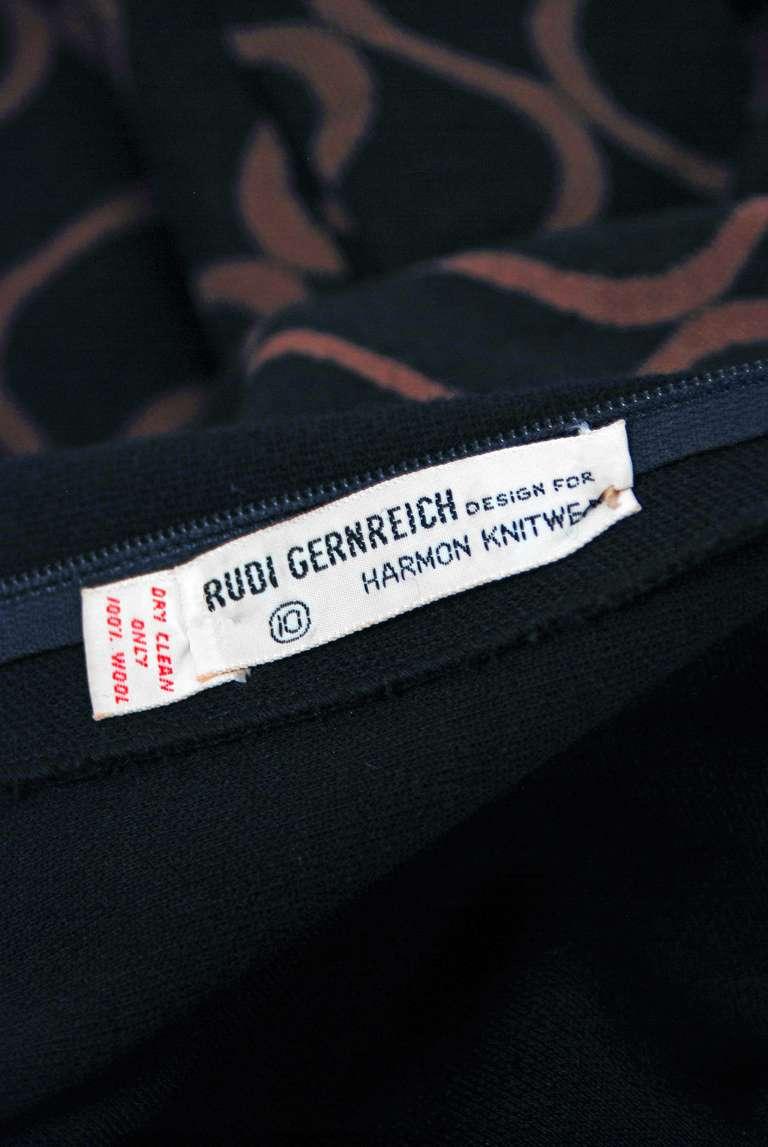 1960's Rudi Gernreich Op-Art Black & Mocha Wool Billow-Sleeves Mod Dress 5