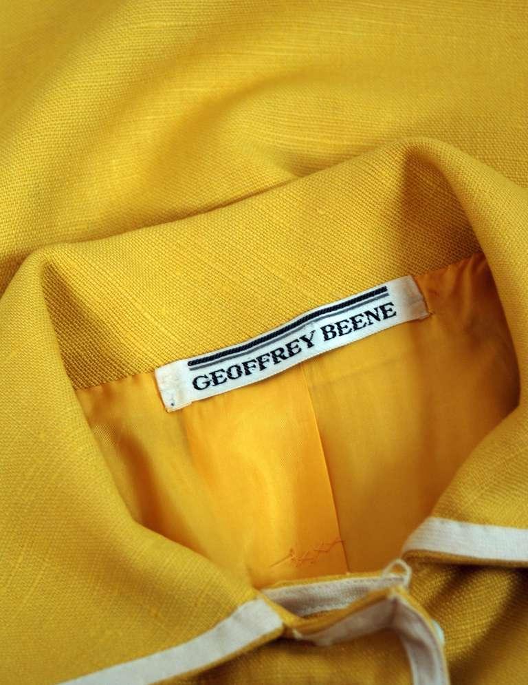 1960's Geoffrey Beene Yellow & White Linen Sleeveless Belted Mod Dress 5