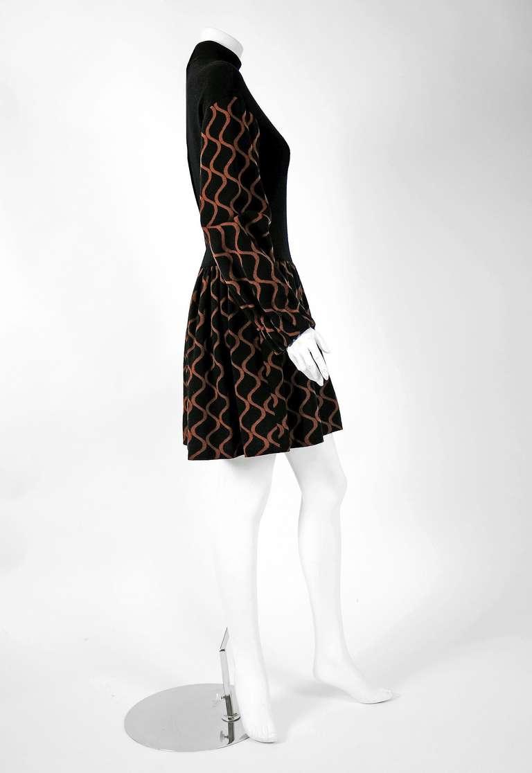 1960's Rudi Gernreich Op-Art Black & Mocha Wool Billow-Sleeves Mod Dress 3